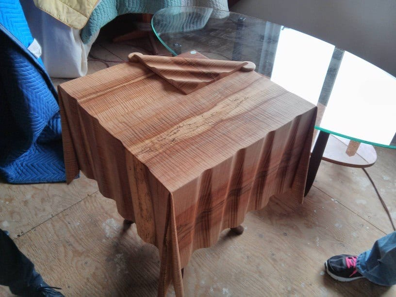 Folded Up Wood Tablecloth