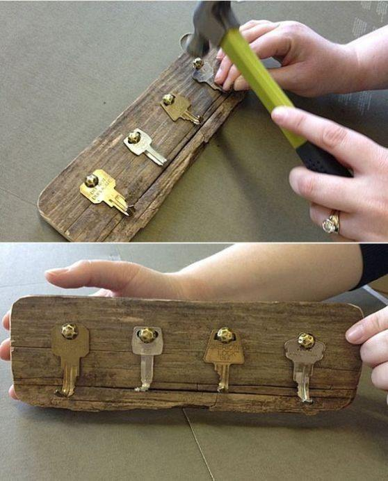 Small Woodworking Projects Part - 32: As You Can See In The Image, These Hooks Are Simply Created By Recycling  Old Keys And Wood Pallets. For This Project, Youu0027ll Only Need An Old Piece  Of Wood ...