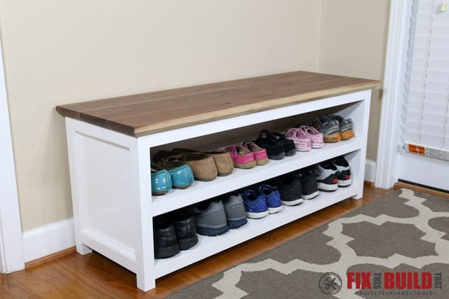 Diy entryway shoe storage bench