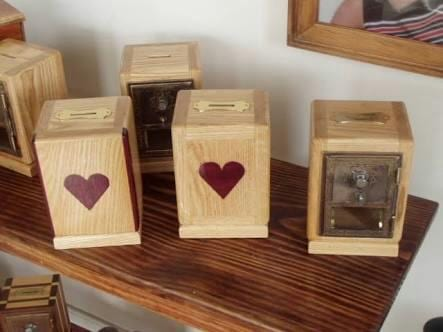 Heart embossed coin boxes
