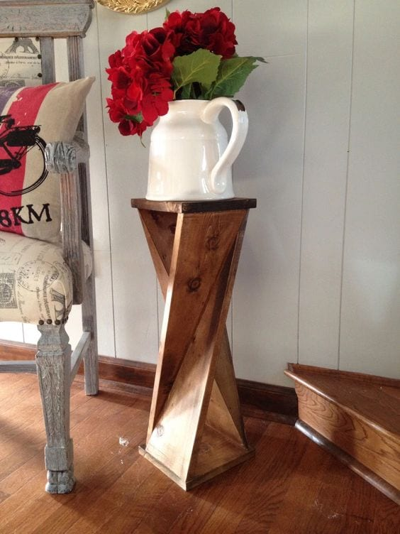 Stylish wooden floor vase