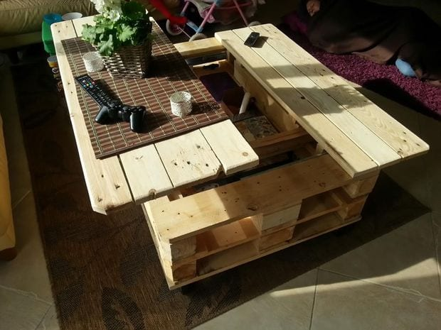 Modern The multi function coffee table creation can assist as a picnic ensemble coffee table and storage unit all in one Spread your creations and reprocess Amazing - Beautiful small side table with shelf