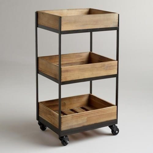 14 3 Shelf Wooden Gavin Rolling Cart