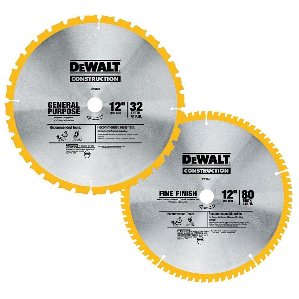 Best circular saw blades cut the wood dewalt dw3128p5 80 tooth and 32t atb thin kerf 12 inch crosscutting miter saw blade keyboard keysfo Gallery
