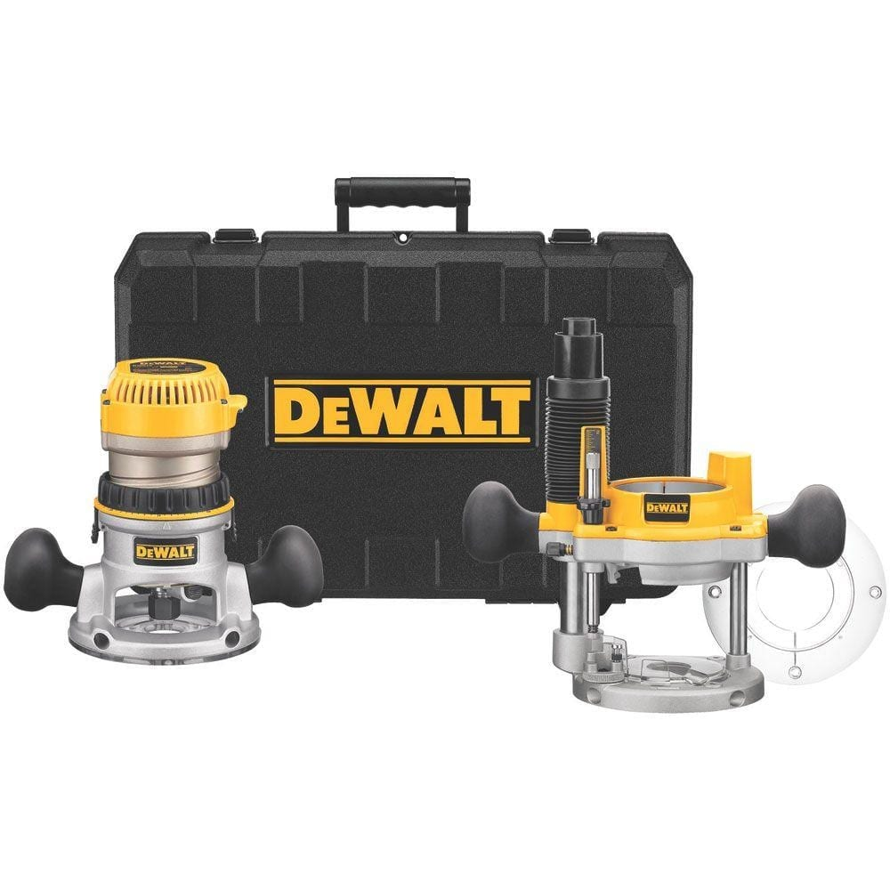 DEWALT DW618PKB 2-1-4 HP EVS Fixed Base and Plunge Router Combo Kit with Soft Start