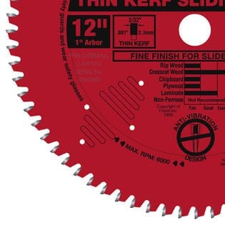 Freud 12 LU91R012 In. 72 Tooth Thin Kerf Sliding Miter Saw Blade