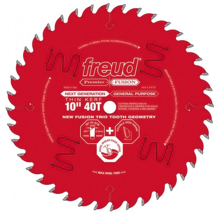 Freud P410T 10 In. 40 Tooth Thin Kerf Premier Fusion General Purpose Saw Blade