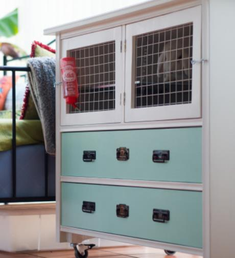 Movable Rabbit Hutch From An Old Dresser