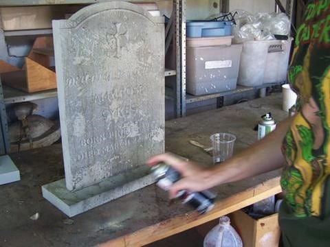 Step 2 Paint The Tombstone To Make Wood Look Like Real Stone