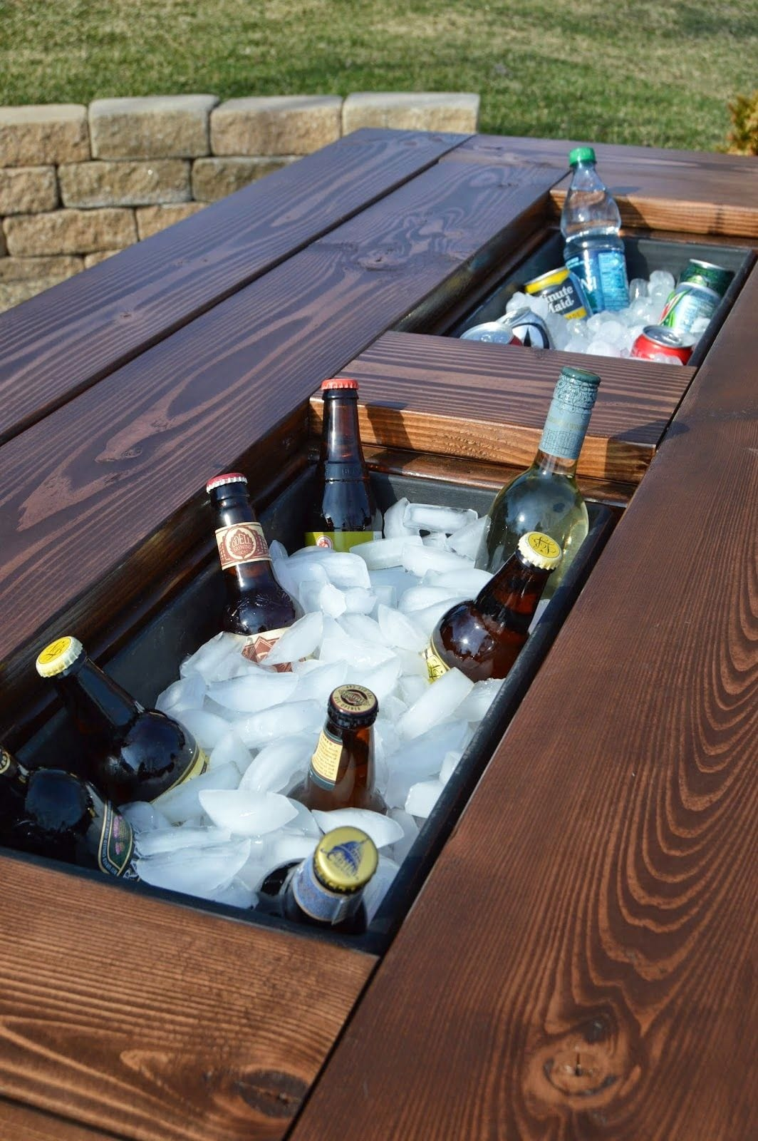 5 poolside patio table with built in icebox