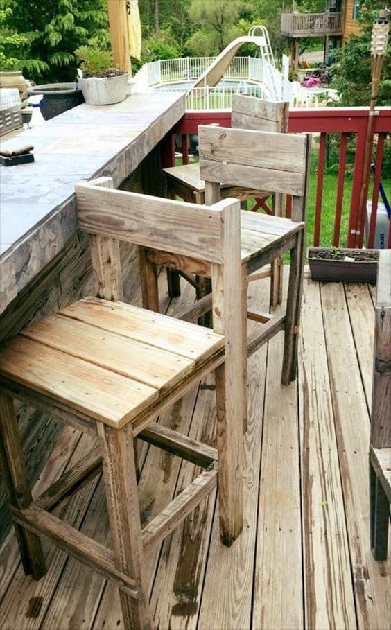 Pallet Wood Stool Chair 2