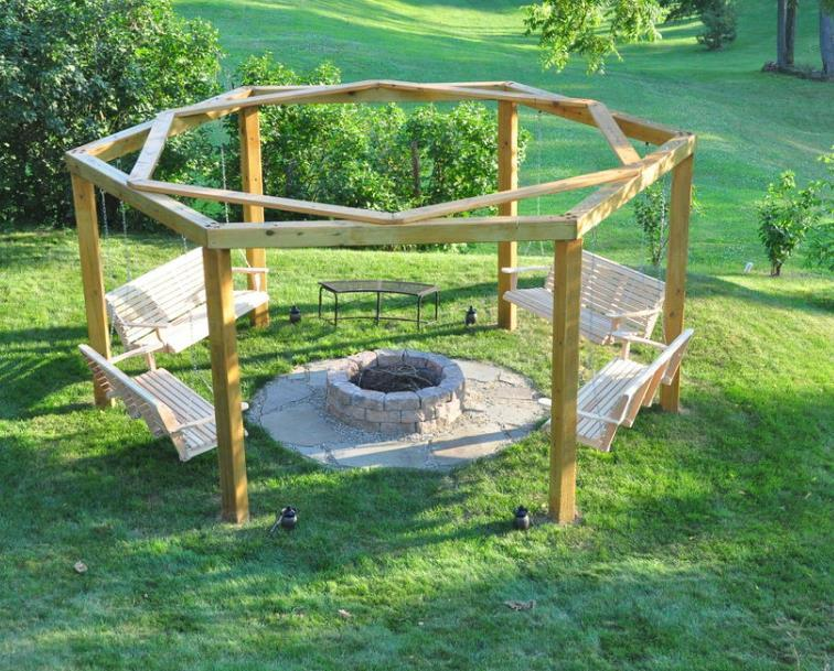 Porch Swing In A Fire Pit