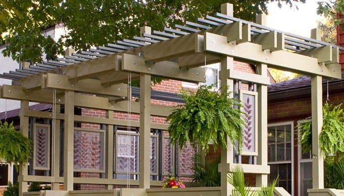 A Simple Deck Pergola With Plant Hangers
