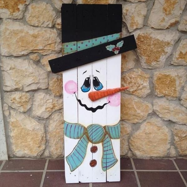 Propped Up Pallet Snowman
