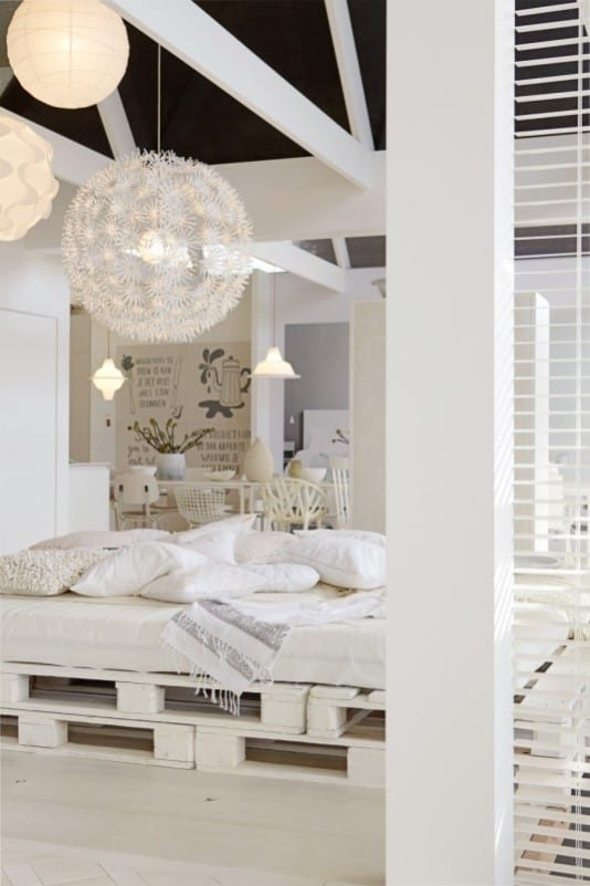 An All White Plan Bedroom Pallet Bed Design