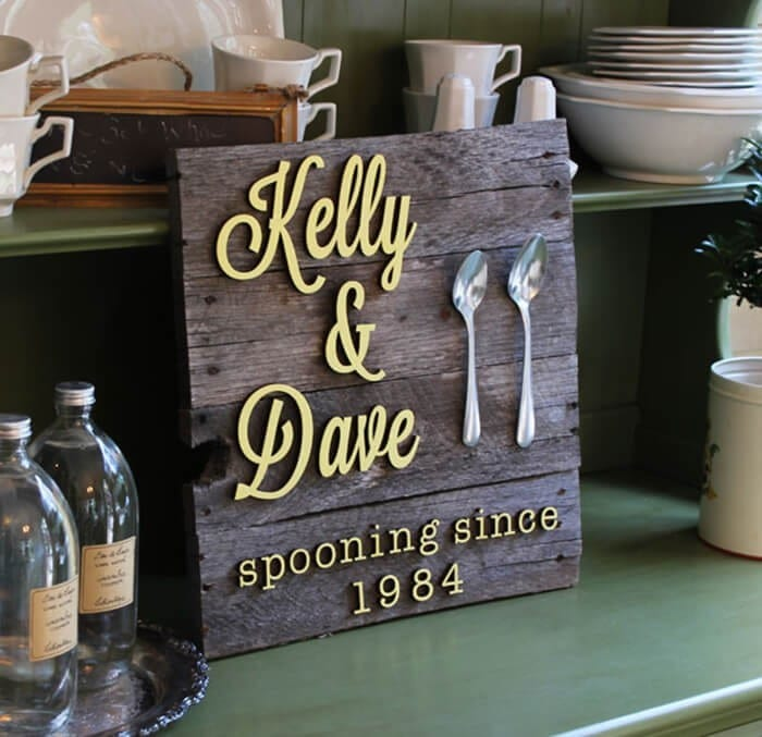 Anniversary Spoon Wood Sign