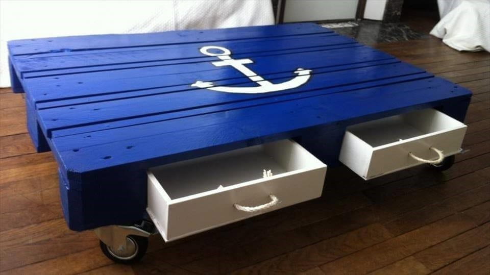 Blue Painted Lunger Pallet Coffee Table