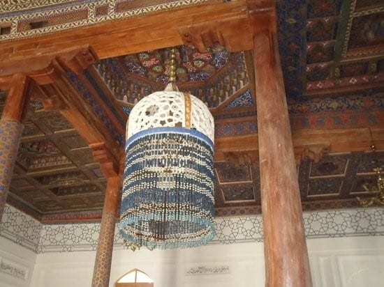 Elaborate Woodcarvings On The Ceilings Of The Beautifully Decorated Interior Of The Nashqband Mosque