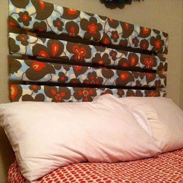 Fabric Covered Pallet Headboard