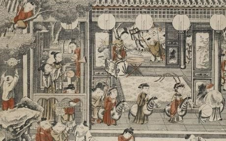 """Fragment Of """"One Hundred Children"""" Chinese Woodblock Print From 1743"""