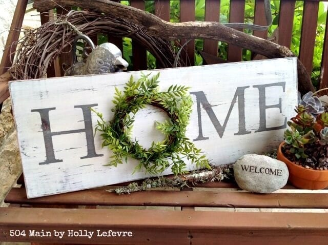 Home Sign With A Wreath