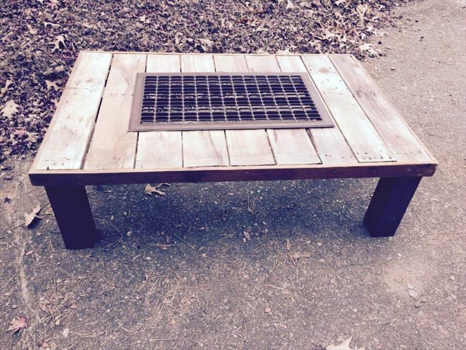 Pallet Metal Grill Coffee Table