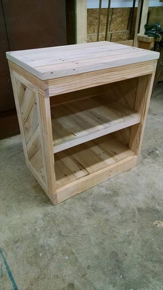 Pallet Nightstand With Open Shelves