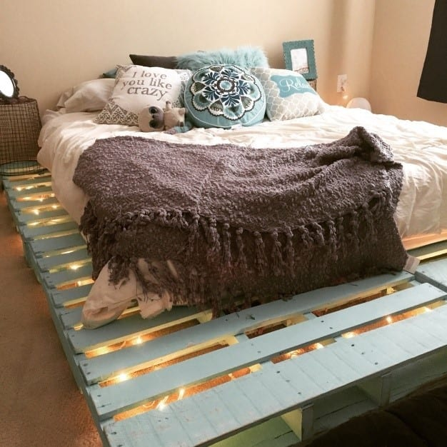 Pastel Turquoise Pallet Bed Frame