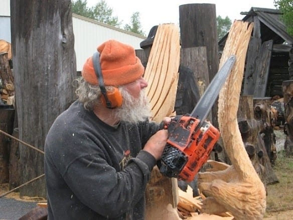 Ray Murphy In The Process Of Chainsaw Carving