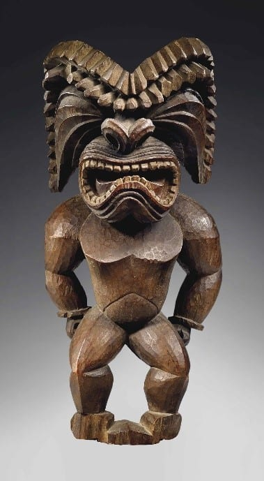The Masterfully Carved Hawaiian Wooden Sculpture Of God Ku