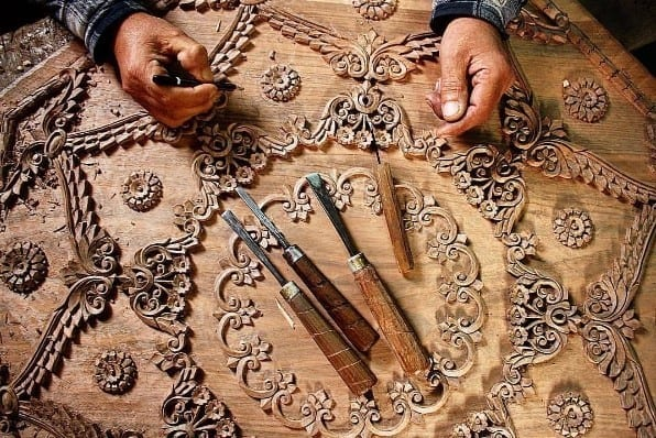 Traditional Motifs And Tools Typical For Kashmir Walnut Wood Carving