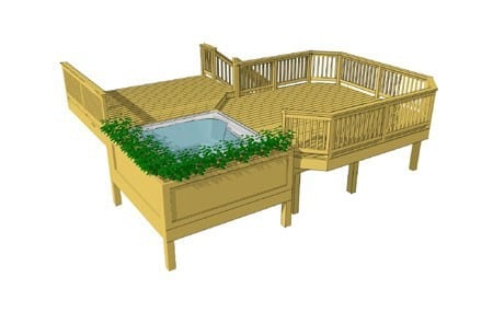 Two Level Deck With Recessed Tub