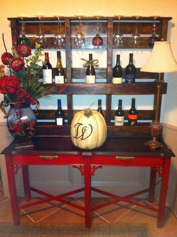 Wine Rack And Glass Rack Made From Pallet Wood