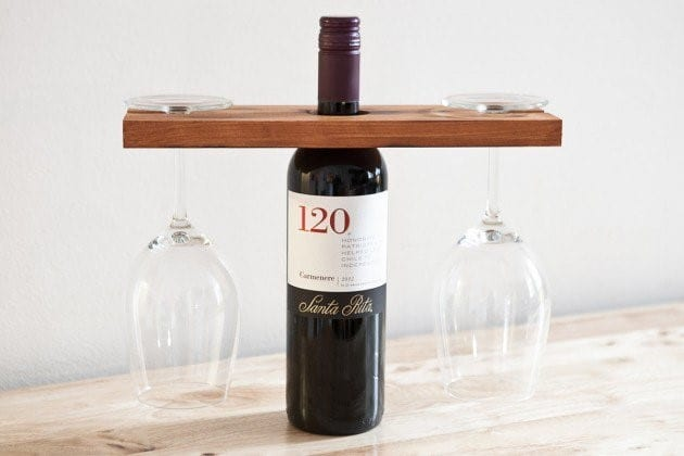 Wine And Glass Wood Stand