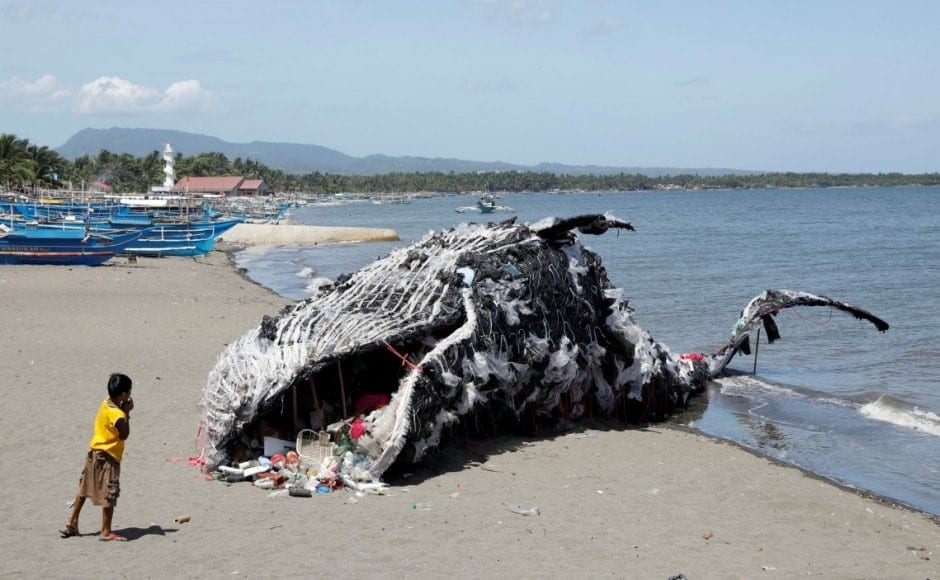 """Giant """"Beached"""" Plastic Whale Artwork"""