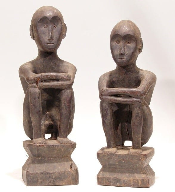 Pair Of Male And Female Bulls From The District Of Banaue Carved From Narra Wood