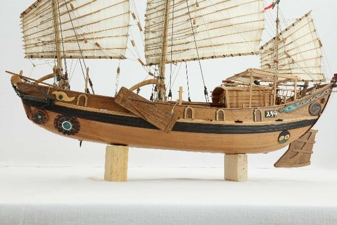 Miniature Ship Model Of A Traditional Chinese River Junk Of The 19Th Century