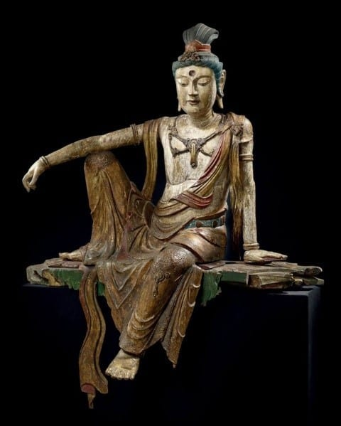 Unique Rare And Exceptional Gilt And Polychrome Wood Figure Of Guanyin China Song Dynasty